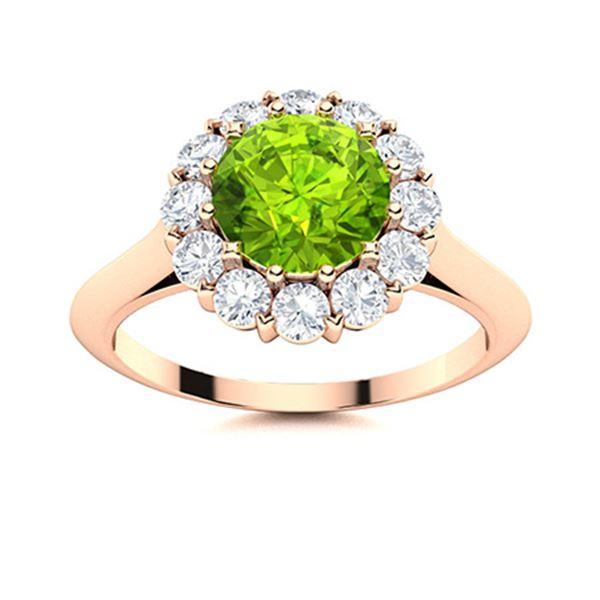 Natural 1.47 CTW Peridot & Diamond Engagement Ring 14K Rose Gold