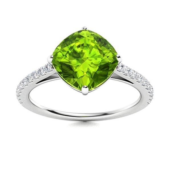 Natural 1.98 CTW Peridot & Diamond Engagement Ring 18K White Gold