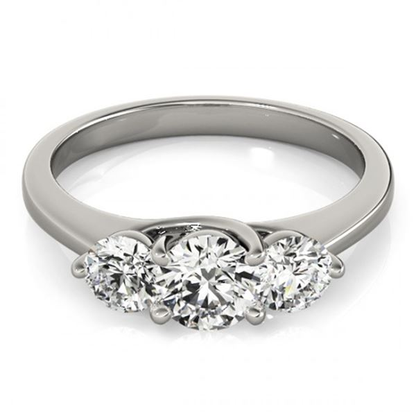 Natural 2 ctw Diamond 3 Stone Solitaire Ring 14k White Gold