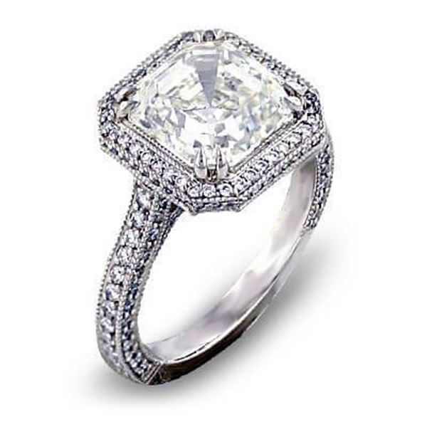 Natural 3.97 CTW Micro Pave Halo Asscher Cut Diamond Ring 18KT White Gold