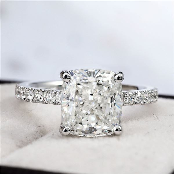 Natural 3.12 CTW Cushion Cut Solitaire Diamond Engagement Ring 18KT White Gold