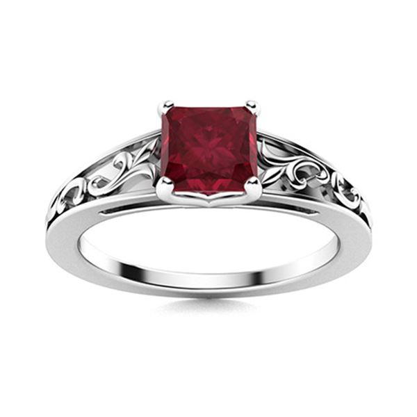 Natural 0.66 CTW Ruby Solitaire Ring 14K White Gold
