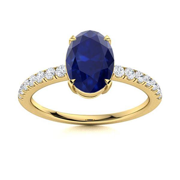 Natural 3.03 CTW Sapphire & Diamond Engagement Ring 14K Yellow Gold