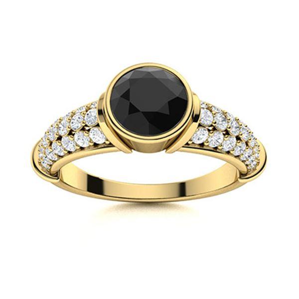 Natural 1.37 CTW Black & White Diamond Engagement Ring 18K Yellow Gold