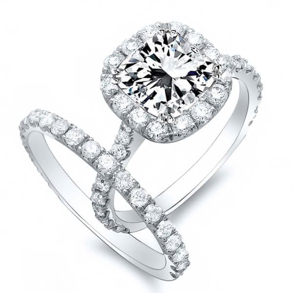 Natural 2.02 CTW Radiant Cut Halo Diamond Engagement Ring 14KT White Gold