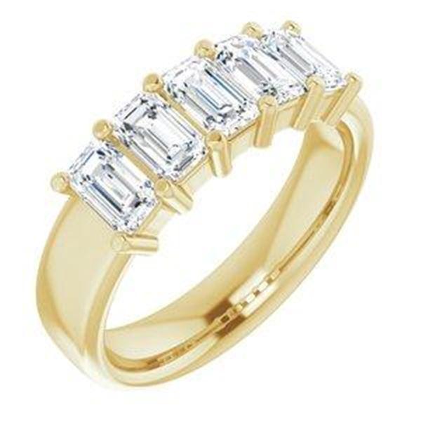 Natural 2.52 CTW Emerald Cut 5-Stone Diamond Ring 18KT Yellow Gold