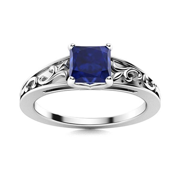 Natural 0.96 CTW Sapphire Solitaire Ring 14K White Gold