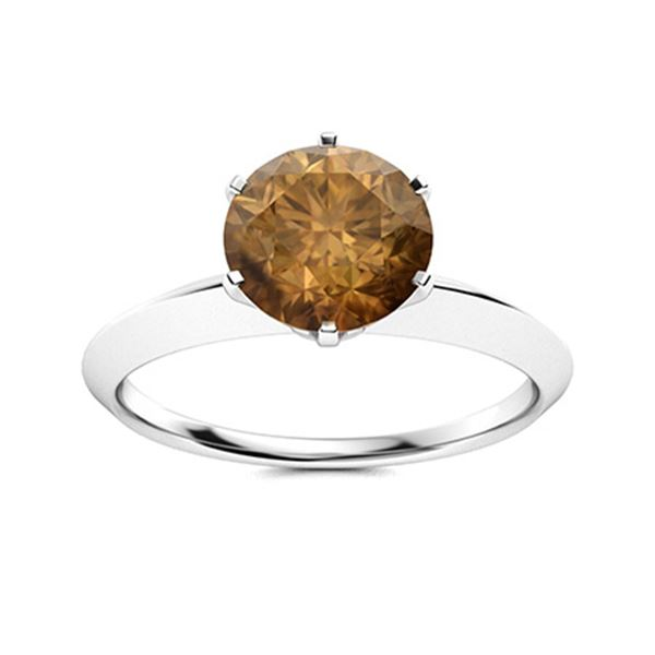 Natural 0.82 CTW Brown Diamond Solitaire Ring 18K White Gold