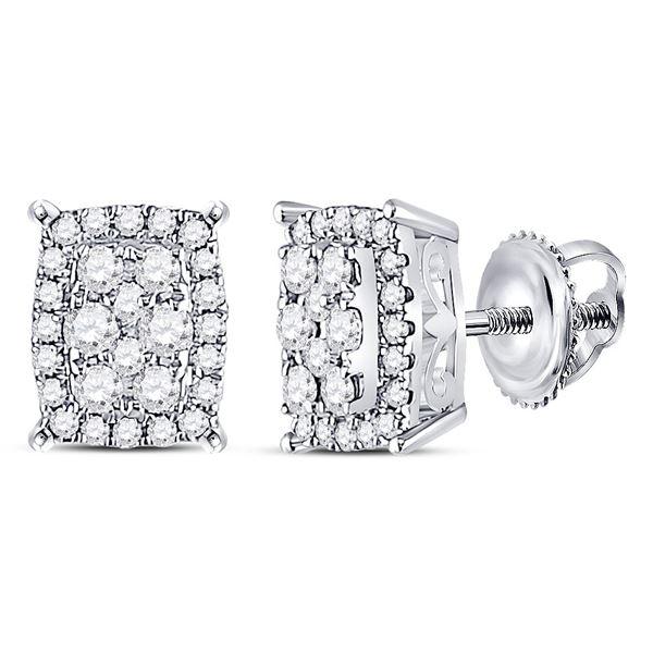 14kt White Gold Womens Round Diamond Rectangle Cluster Earrings 1/4 Cttw