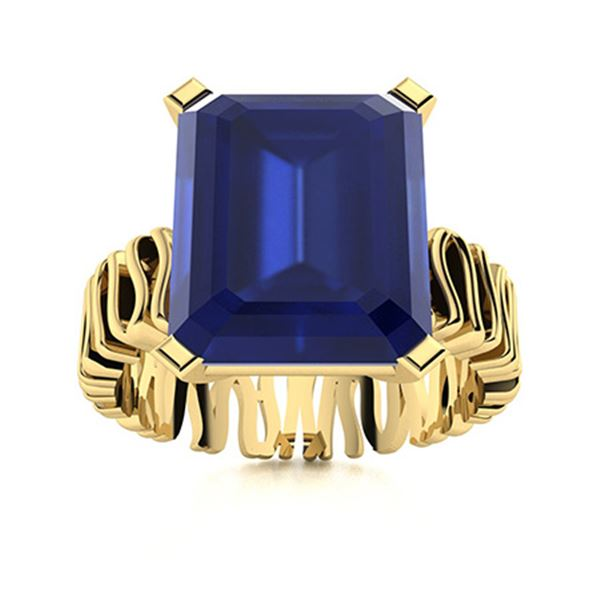 Natural 1.56 CTW Sapphire Solitaire Ring 18K Yellow Gold
