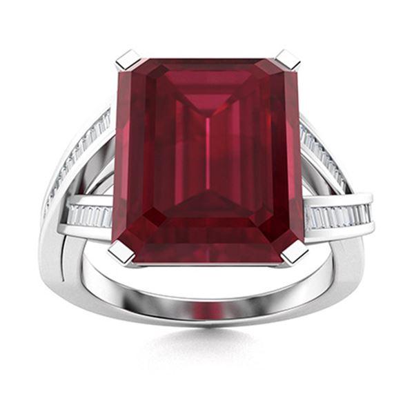 Natural 2.66 CTW Ruby & Diamond Engagement Ring 14K White Gold