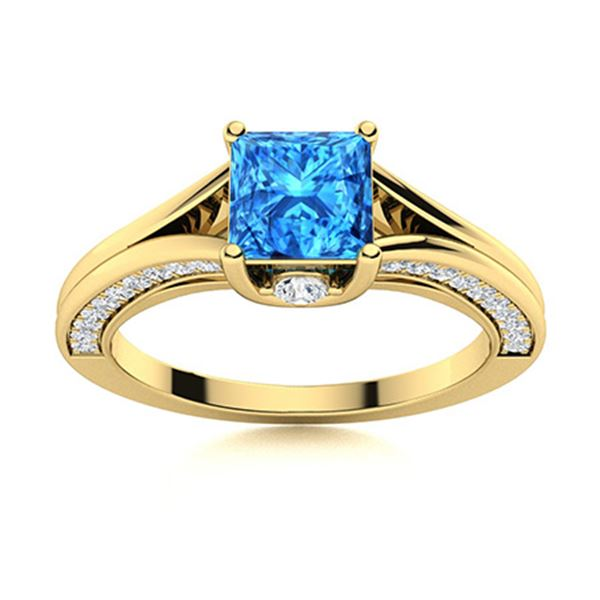 Natural 1.25 CTW Topaz & Diamond Engagement Ring 14K Yellow Gold