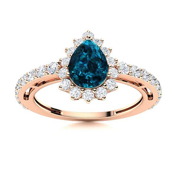 Natural 1.64 CTW Topaz & Diamond Engagement Ring 14K Rose Gold