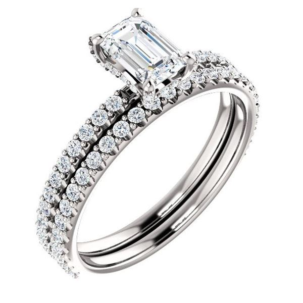 Natural 1.72 CTW Halo Emerald Cut Diamond Ring 18KT White Gold