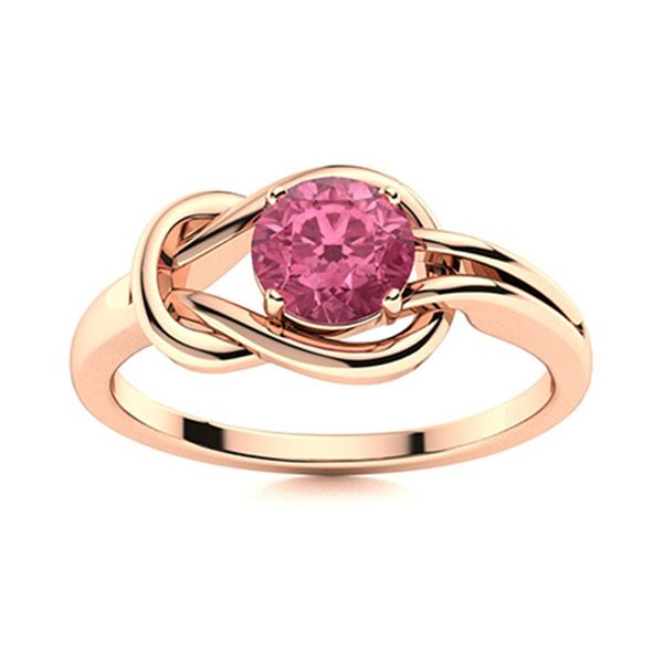 Natural 1.06 CTW Tourmaline Solitaire Ring 18K Rose Gold