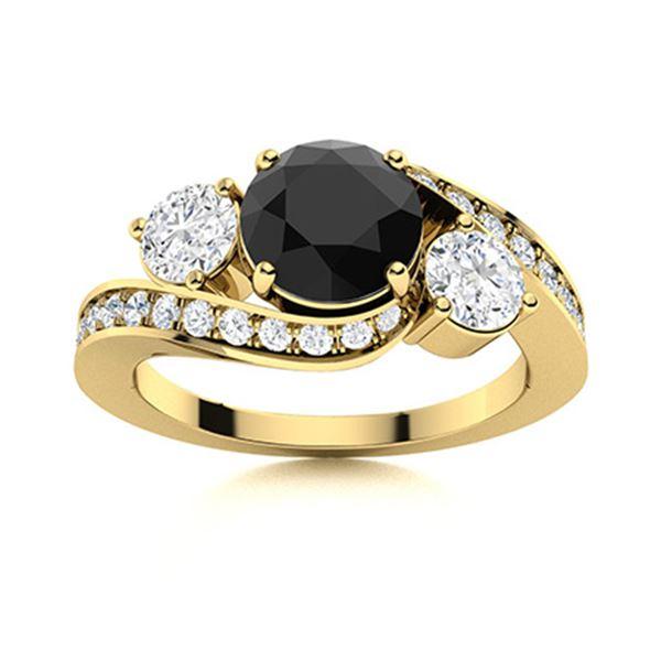 Natural 1.52 CTW Black & White Diamond Engagement Ring 18K Yellow Gold