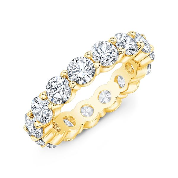 Natural 4.02 CTW Round Brilliant Diamond Eternity Band Wedding Ring 18KT Yellow Gold