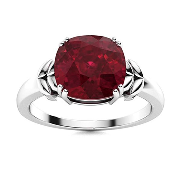 Natural 1.51 CTW Ruby Solitaire Ring 14K White Gold