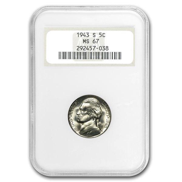 1943-S Jefferson Nickel MS 67 NGC