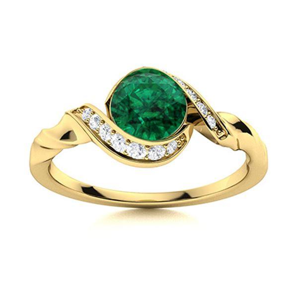 Natural 0.74 CTW Emerald & Diamond Engagement Ring 14K Yellow Gold