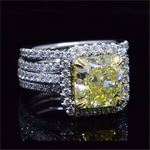 Natural 4.88 CTW Canary Yellow Radiant Cut Diamond Ring 18KT Two-tone