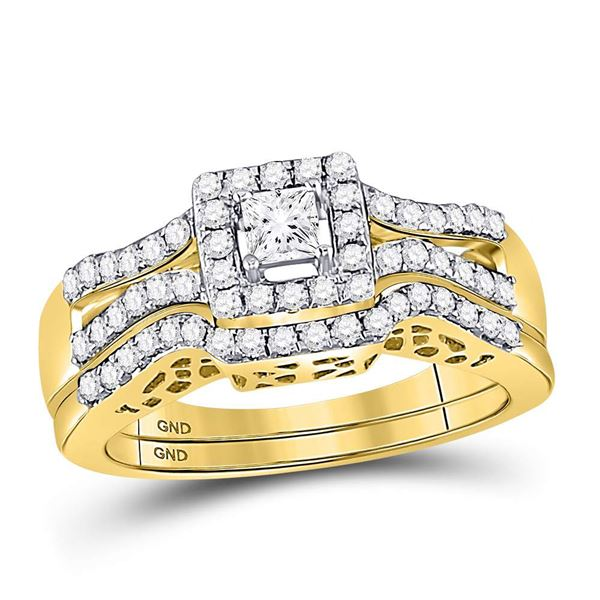 14kt Yellow Gold Princess Diamond Bridal Wedding Ring Band Set 5/8 Cttw