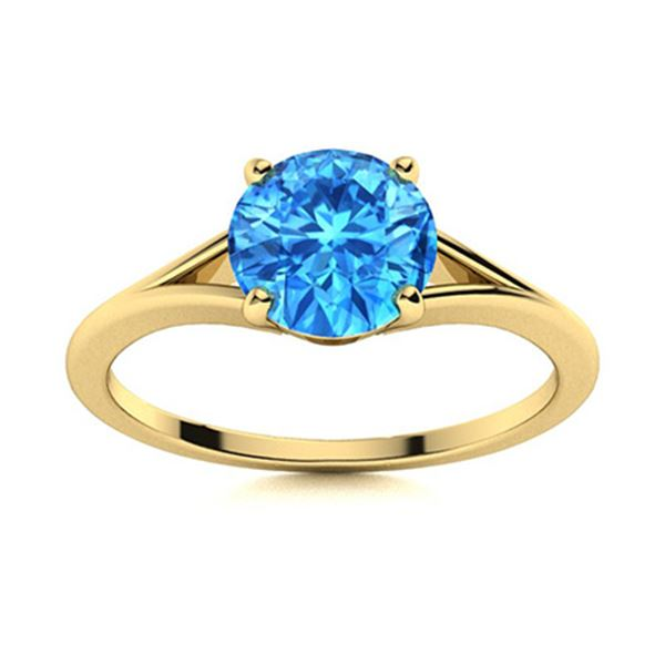 Natural 1.21 CTW Topaz Solitaire Ring 14K Yellow Gold