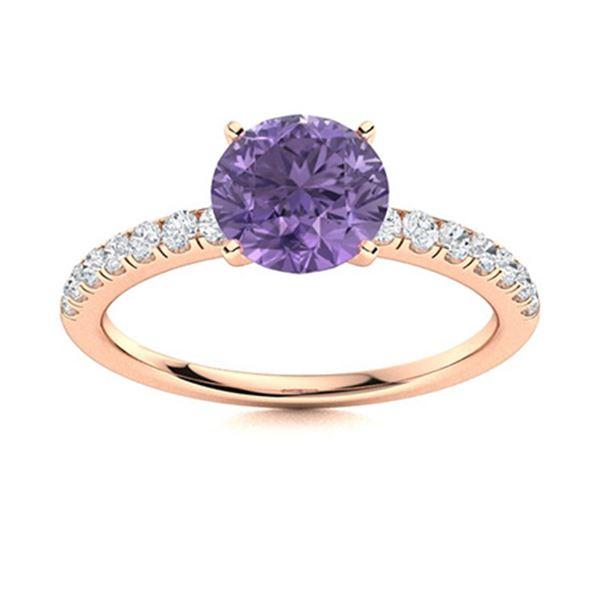 Natural 1.97 CTW Iolite & Diamond Engagement Ring 18K Rose Gold