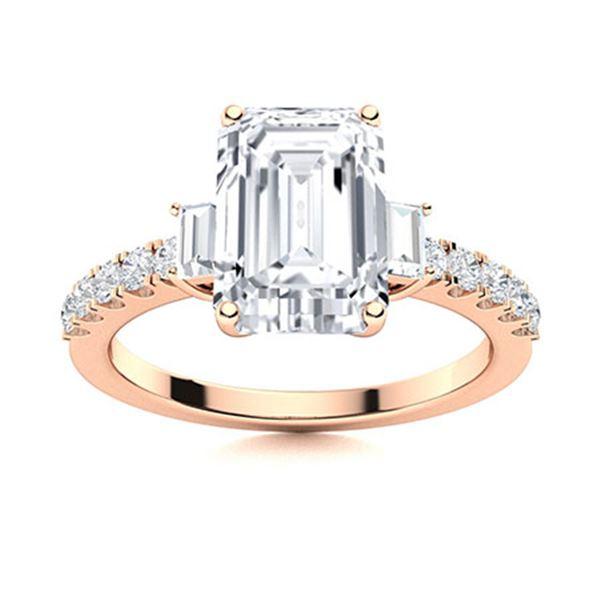 Natural 3.49 CTW Topaz & Diamond  Engagement Ring 18K Rose Gold