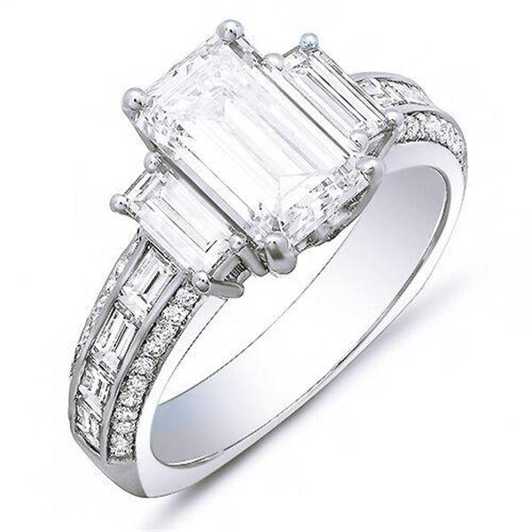 Natural 3.32 CTW Emerald Cut & Baguettes Diamond Engagement Ring 14KT White Gold