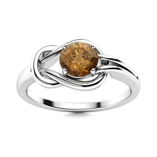 Natural 0.46 CTW Brown Diamond Solitaire Ring 14K White Gold