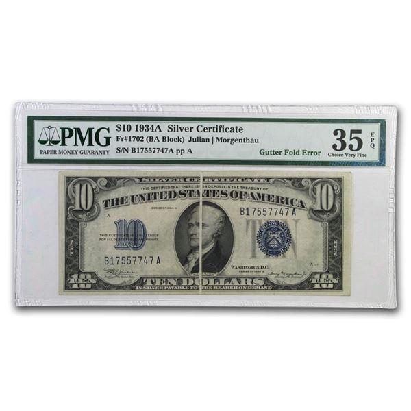 1934-A $10 Silver Certificate XF (Mint Error Gutter Fold)