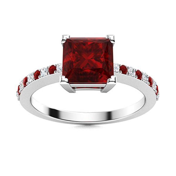 Natural 1.15 CTW Garnet & Diamond  Engagement Ring 18K White Gold