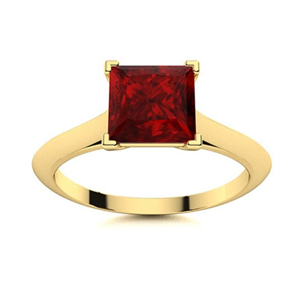 Natural 1.10 CTW Garnet Solitaire Ring 18K Yellow Gold