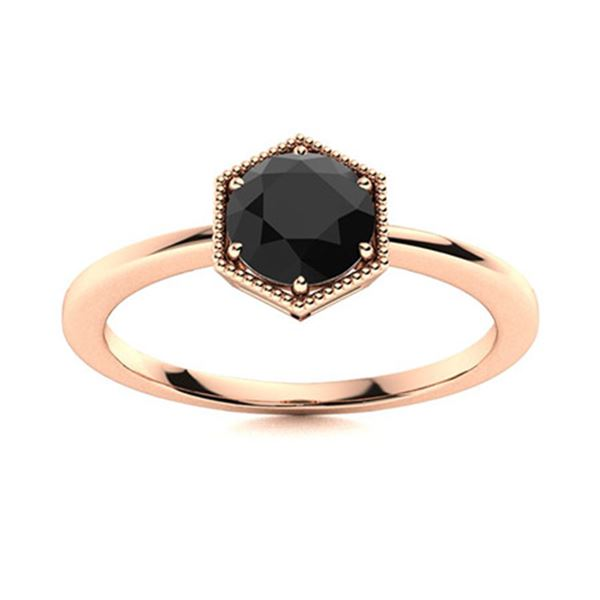 Natural 1.01 CTW Black Diamond Solitaire Ring 14K Rose Gold