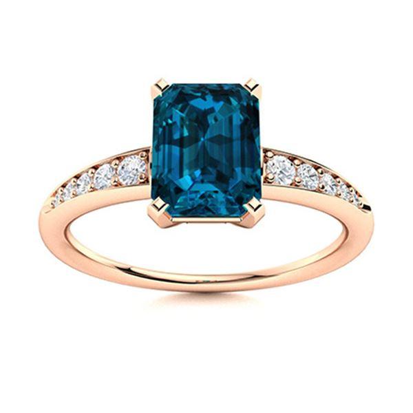 Natural 1.30 CTW Topaz & Diamond Engagement Ring 14K Rose Gold