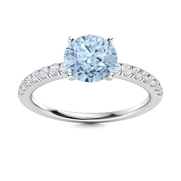 Natural 1.30 CTW Aquamarine & Diamond  Engagement Ring 14K White Gold