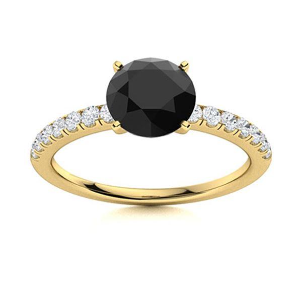 Natural 1.30 CTW Onyx & Diamond Engagement Ring 14K Yellow Gold