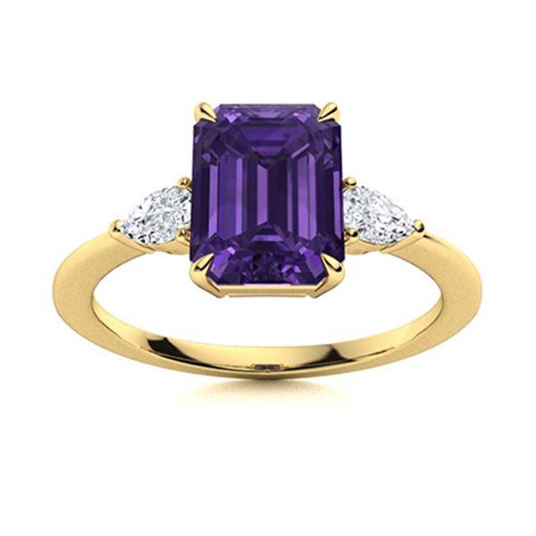 Natural 1.30 CTW Amethyst & Diamond Engagement Ring 14K Yellow Gold