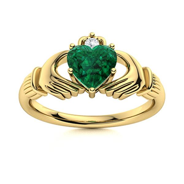 Natural 0.53 CTW Emerald & Diamond Engagement Ring 14K Yellow Gold