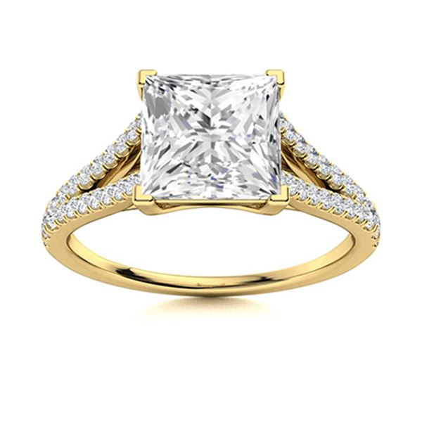 Natural 1.30 CTW Diamond Solitaire Ring 14K Yellow Gold