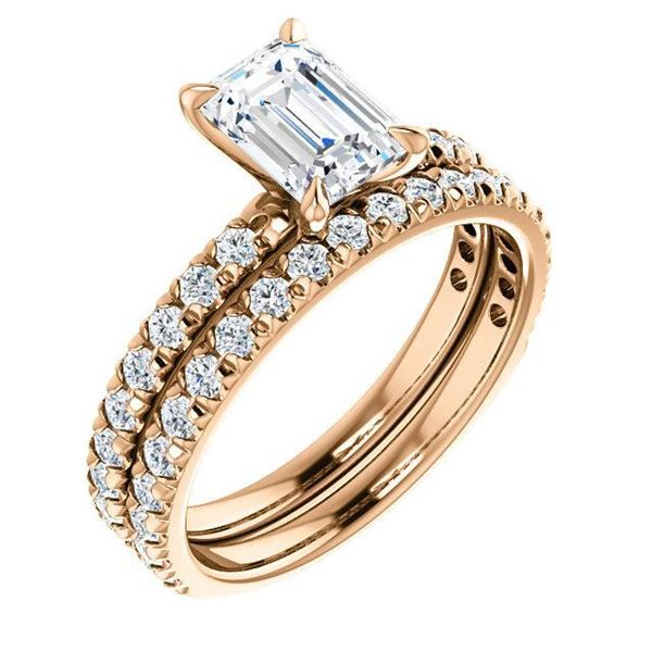 Natural 2.82 CTW Pave Emerald Cut Diamond Engagement Ring 14KT Rose Gold
