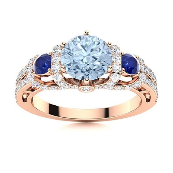 Natural 1.91 CTW Aquamarine , Sapphire & Diamond Engagement Ring 18K Rose Gold
