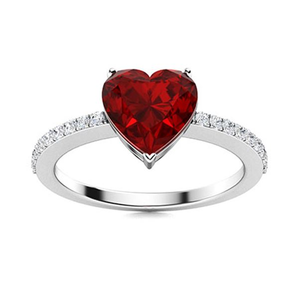 Natural 1.37 CTW Garnet & Diamond Engagement Ring 18K White Gold