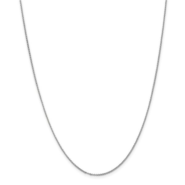 14k White Gold 1.15 mm Rolo Pendant Chain Necklace - 16 in.