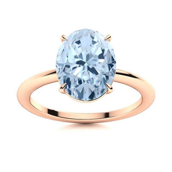 Natural 2.13 CTW Aquamarine Solitaire Ring 18K Rose Gold