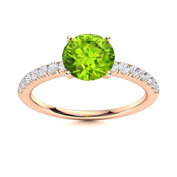 Natural 1.47 CTW Peridot & Diamond Engagement Ring 18K Rose Gold