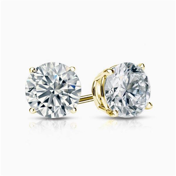 Natural 4.02 CTW Round Cut Diamond Stud Earrings  18KT Yellow Gold