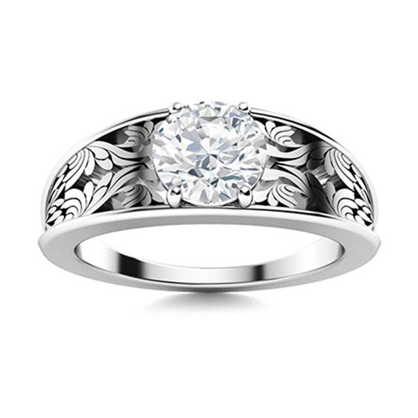 Natural 1.21 CTW Topaz Solitaire Ring 14K White Gold