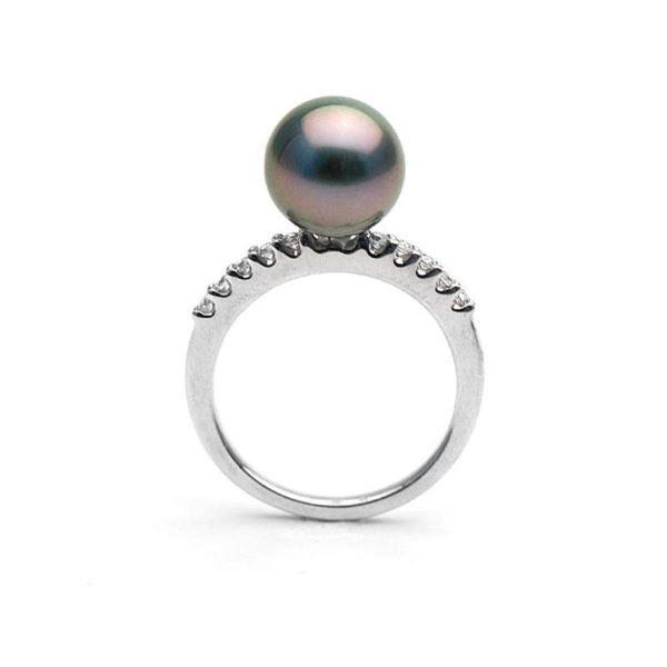 Black Tahitian Pearl and Diamond Half-Eternity Ring, 9.0-10.0mm, 14K Gold